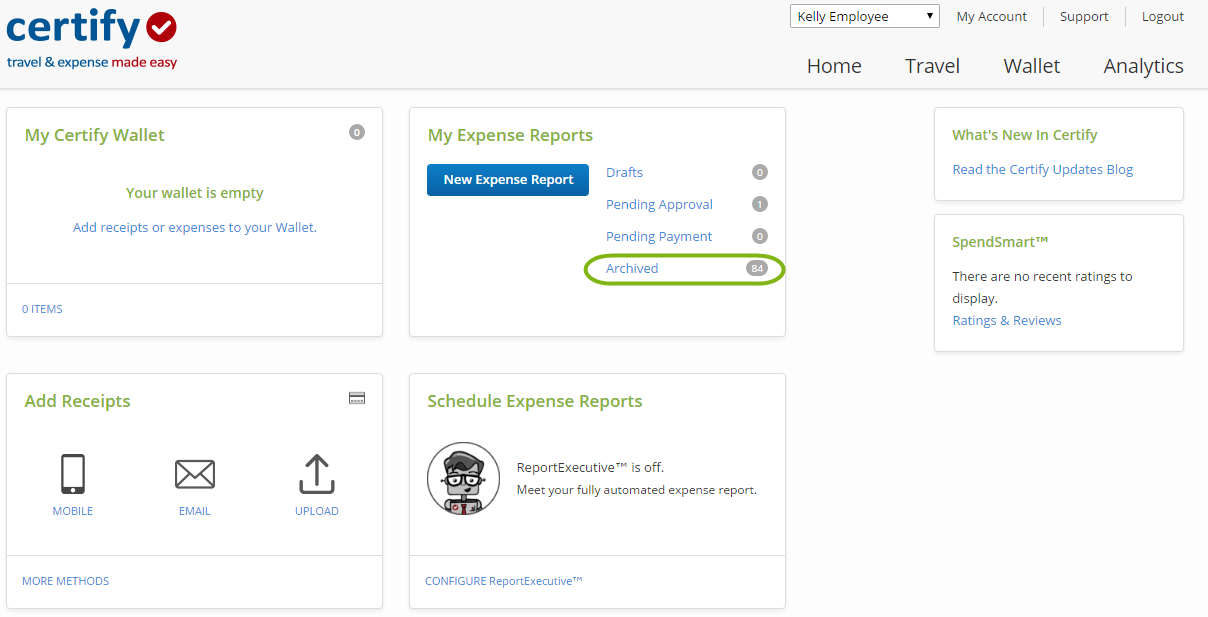 Printing an Expense Report Certify Help Center – Expense Reports